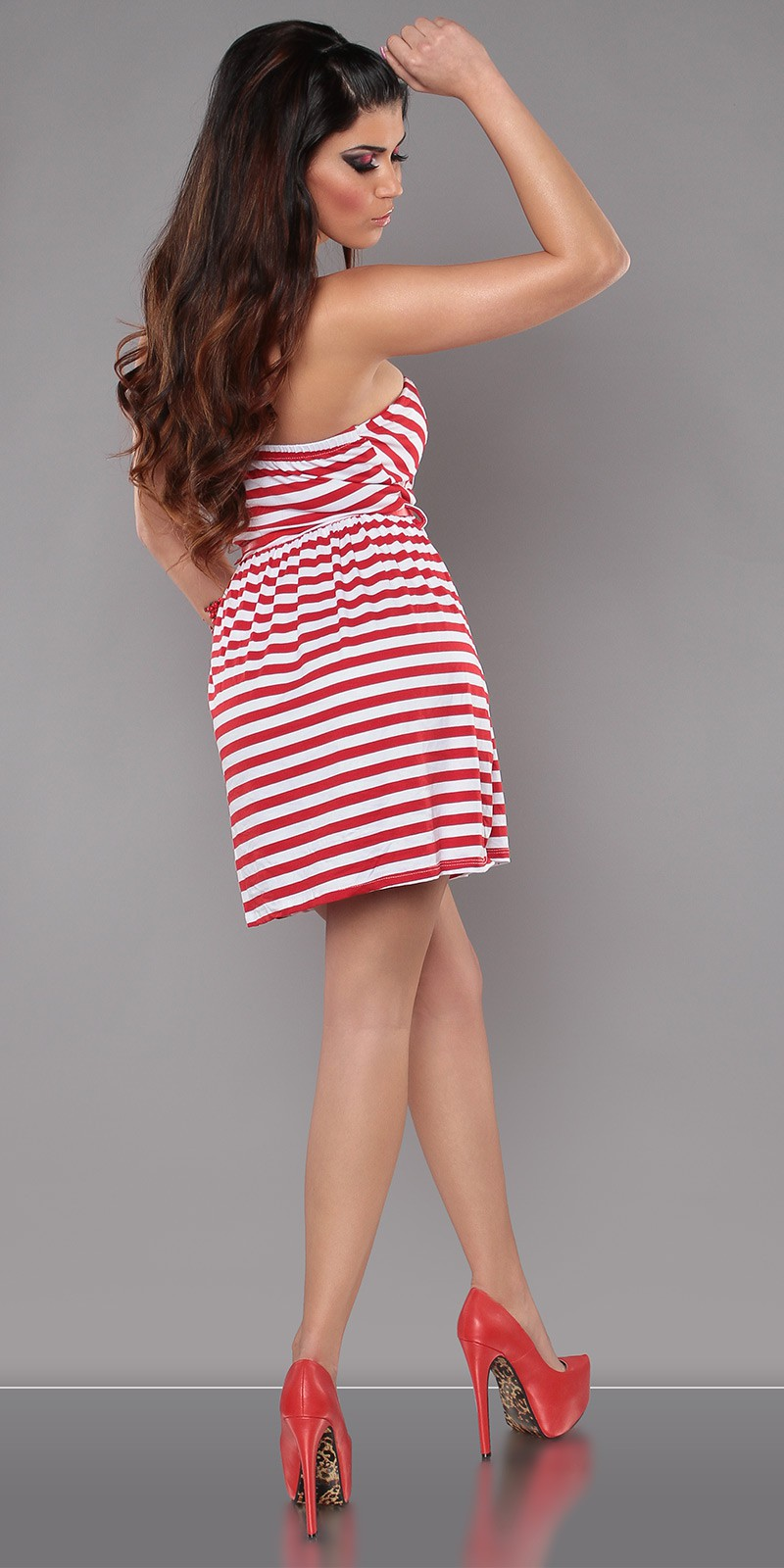 Red Strapless Striped Dress With Red Belt