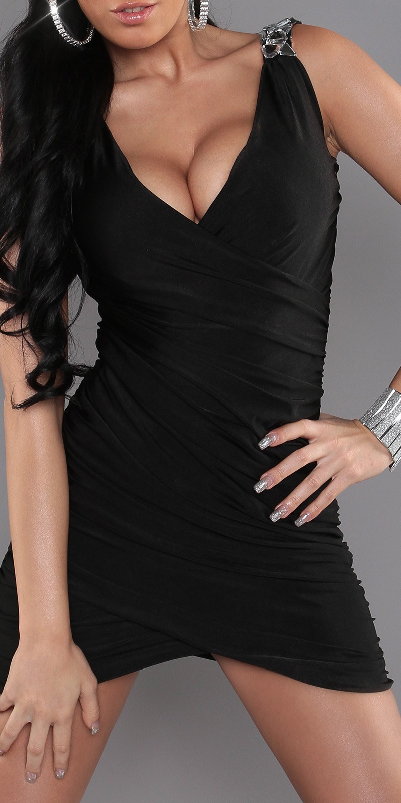 Black Wrapped V-Neck Evening Dress With Brilliant Stones