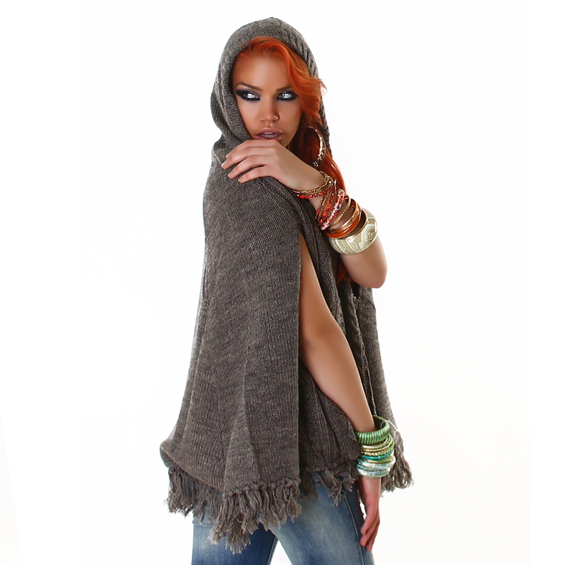Brown Knit Hoody Poncho With Fringe