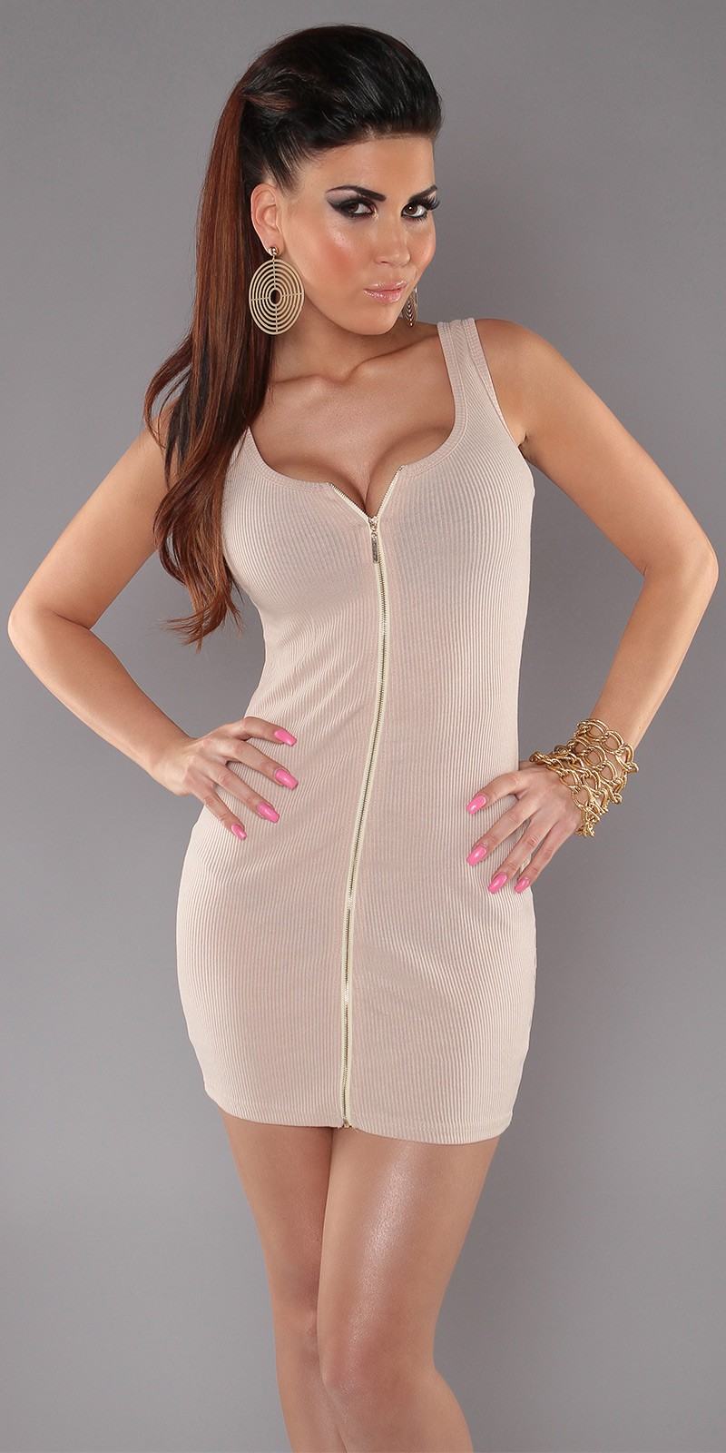 Beige Sexy Minidress With Zipper