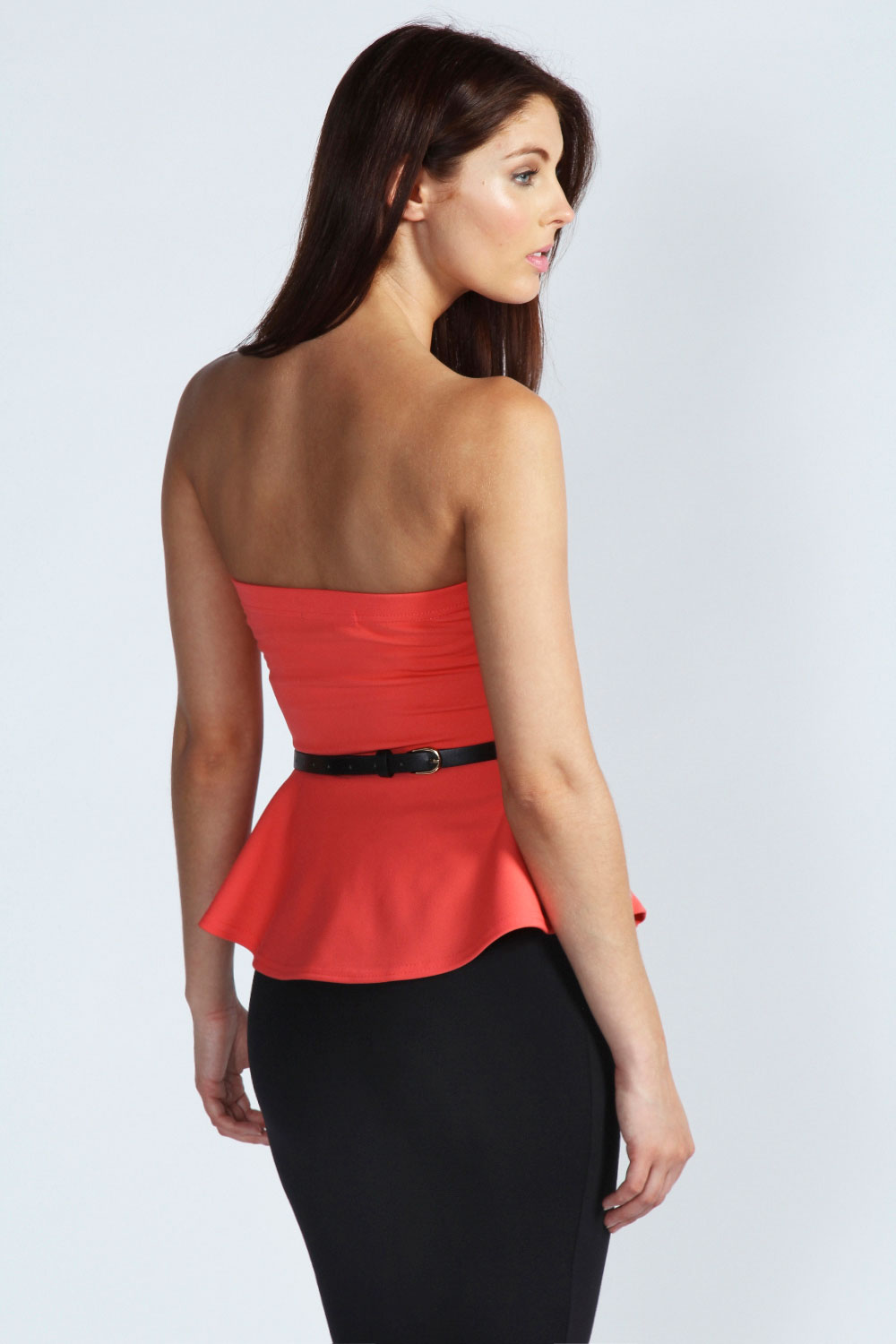 Black Ava Belted Strapless Top