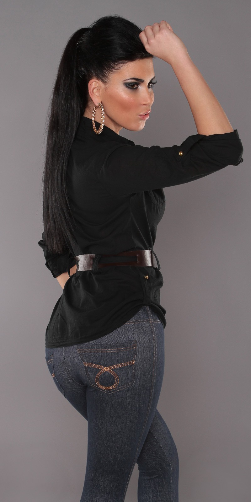 Black Blouse With Belt
