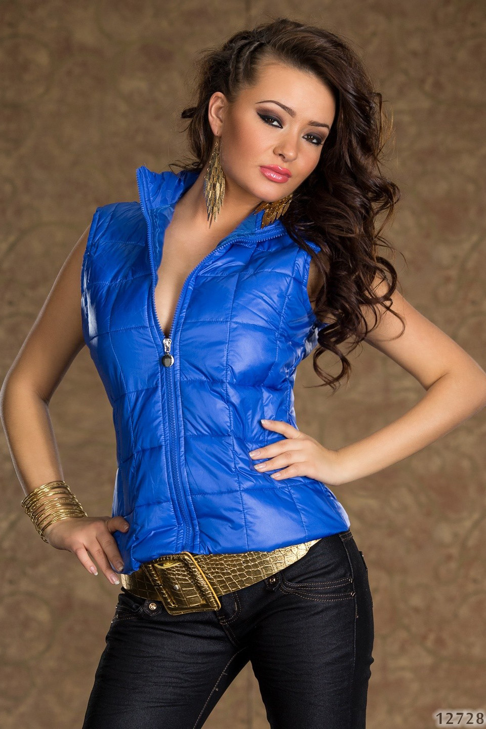 Blue Swollen Zippered Vest