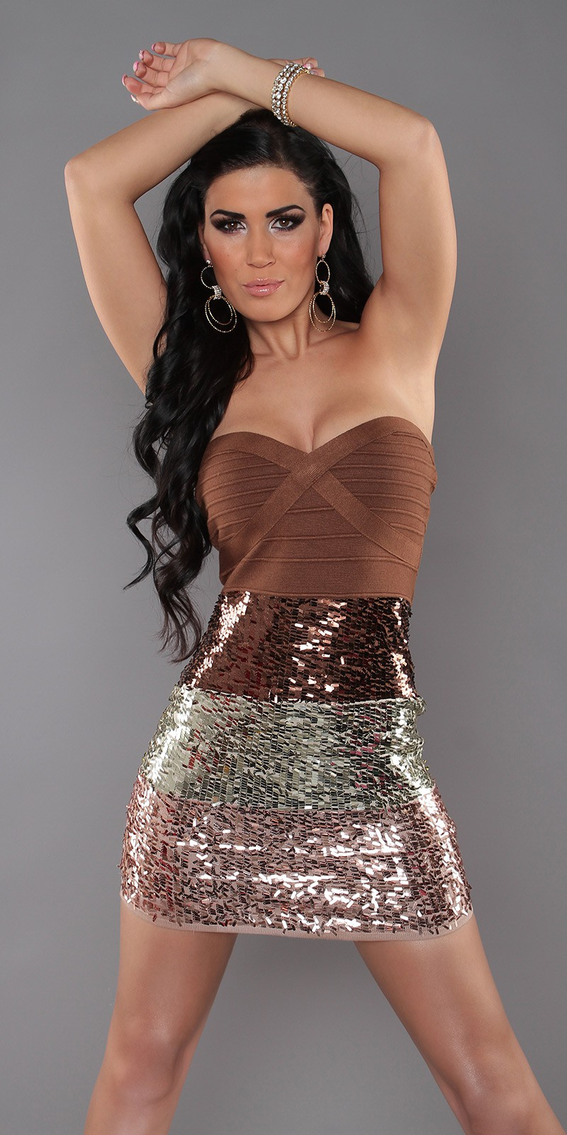 Brown Sexy Bandeau Knitted Dress With Sequins