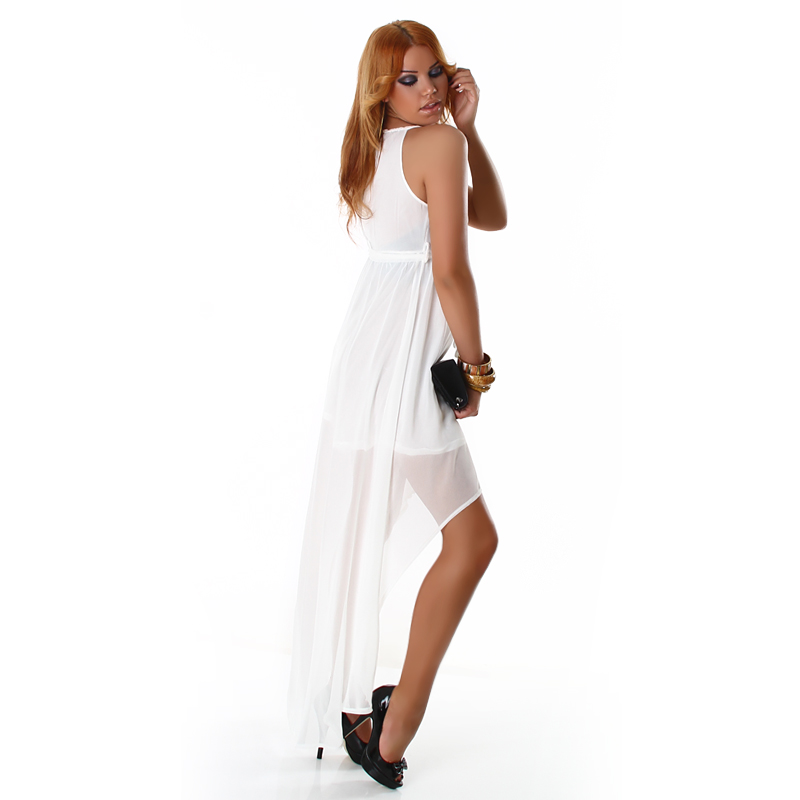 White Double Key-Hole High Low Dress