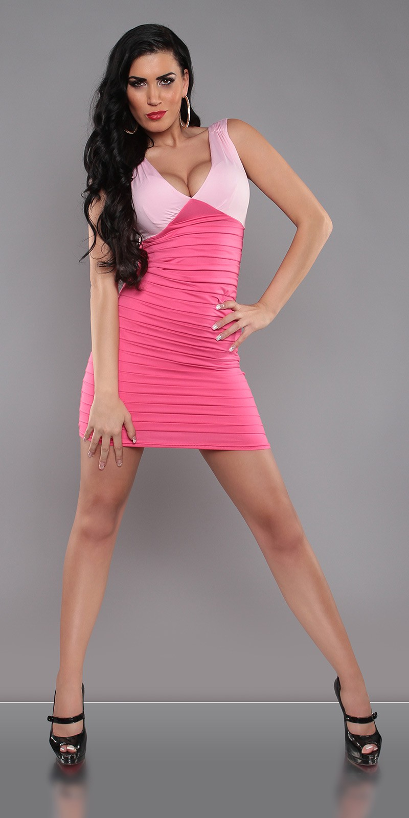 Fuchsia-Pink Two-Color V-Neck Pleated Slinky Dress