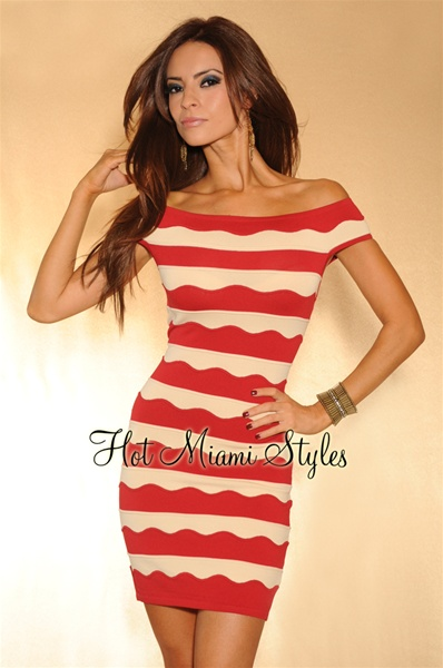Red Beige Stripes Dress