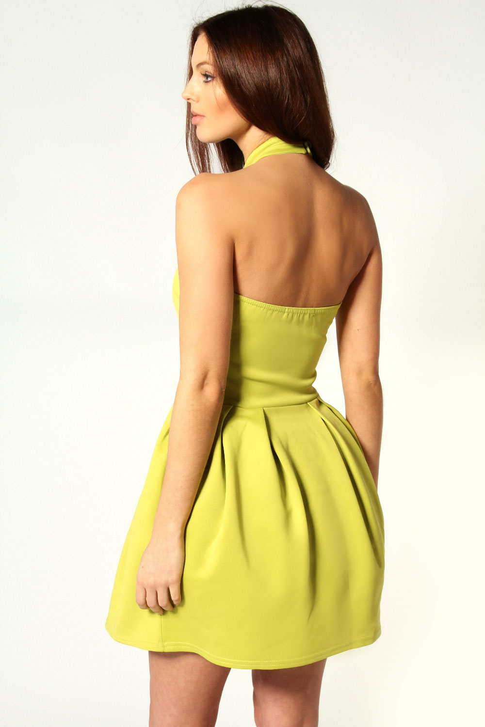 Lime Amanda Halter Neck Lantern Dress