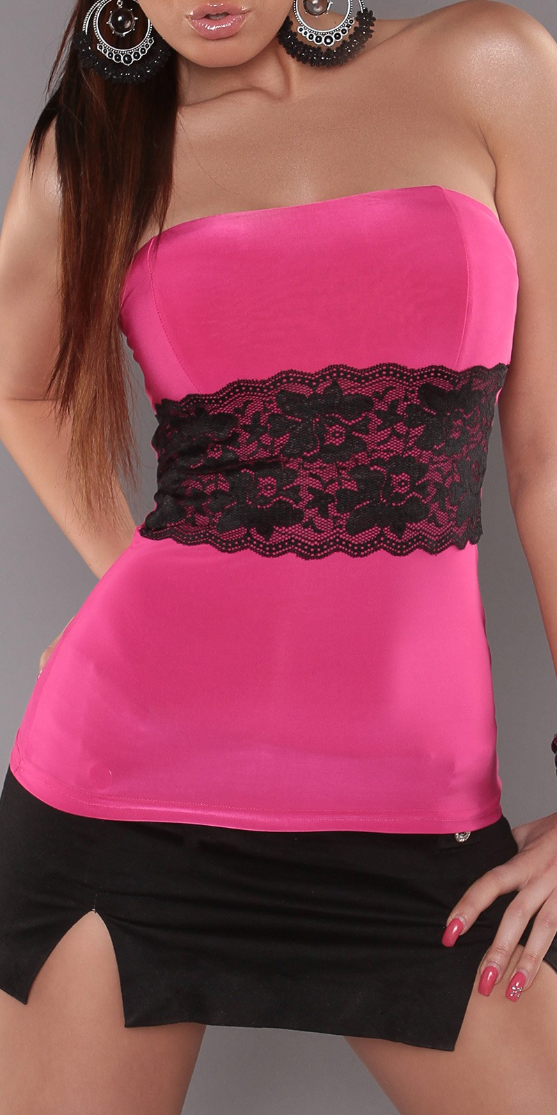 Fuchsia Sexy Strapless Top With Lace Waistband