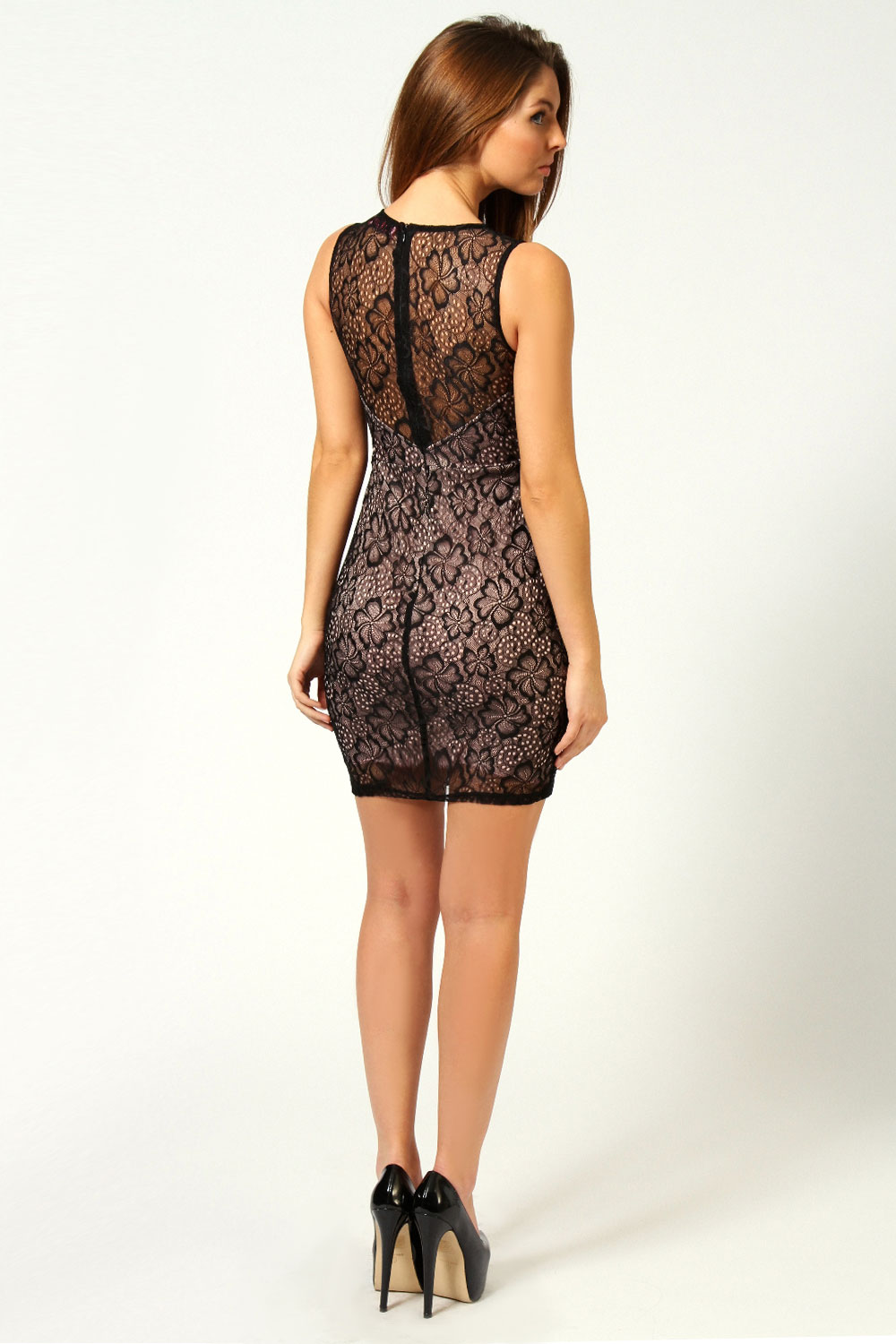 Josie Sleeveless Lace Overlay Bodycon Dress
