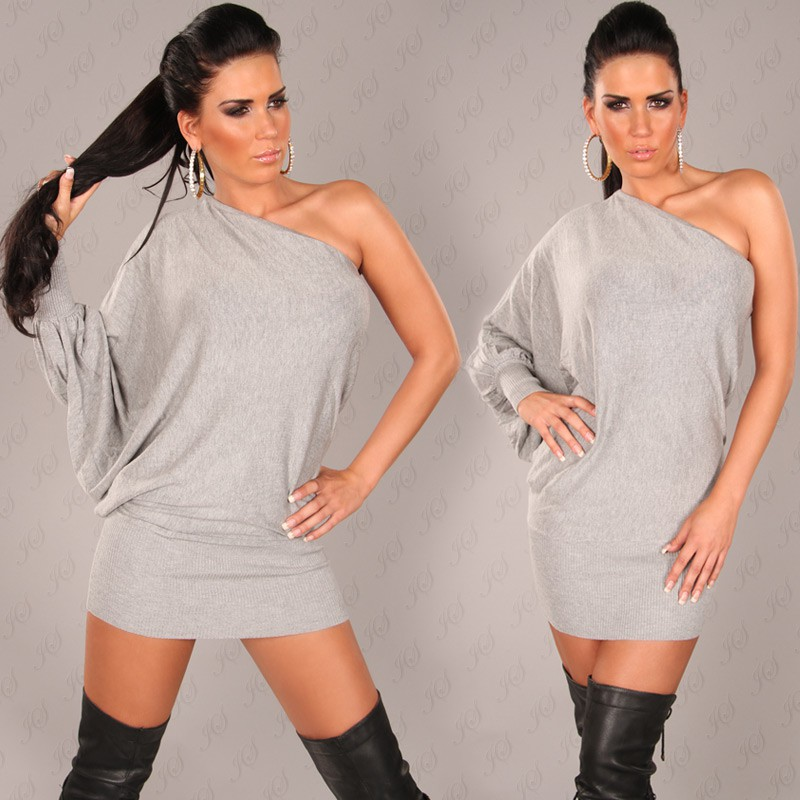 Grey Sexy Onesleeve Batlook Longsweater-Minidress