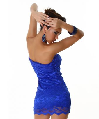 Blue Lace Strapless Short Dress