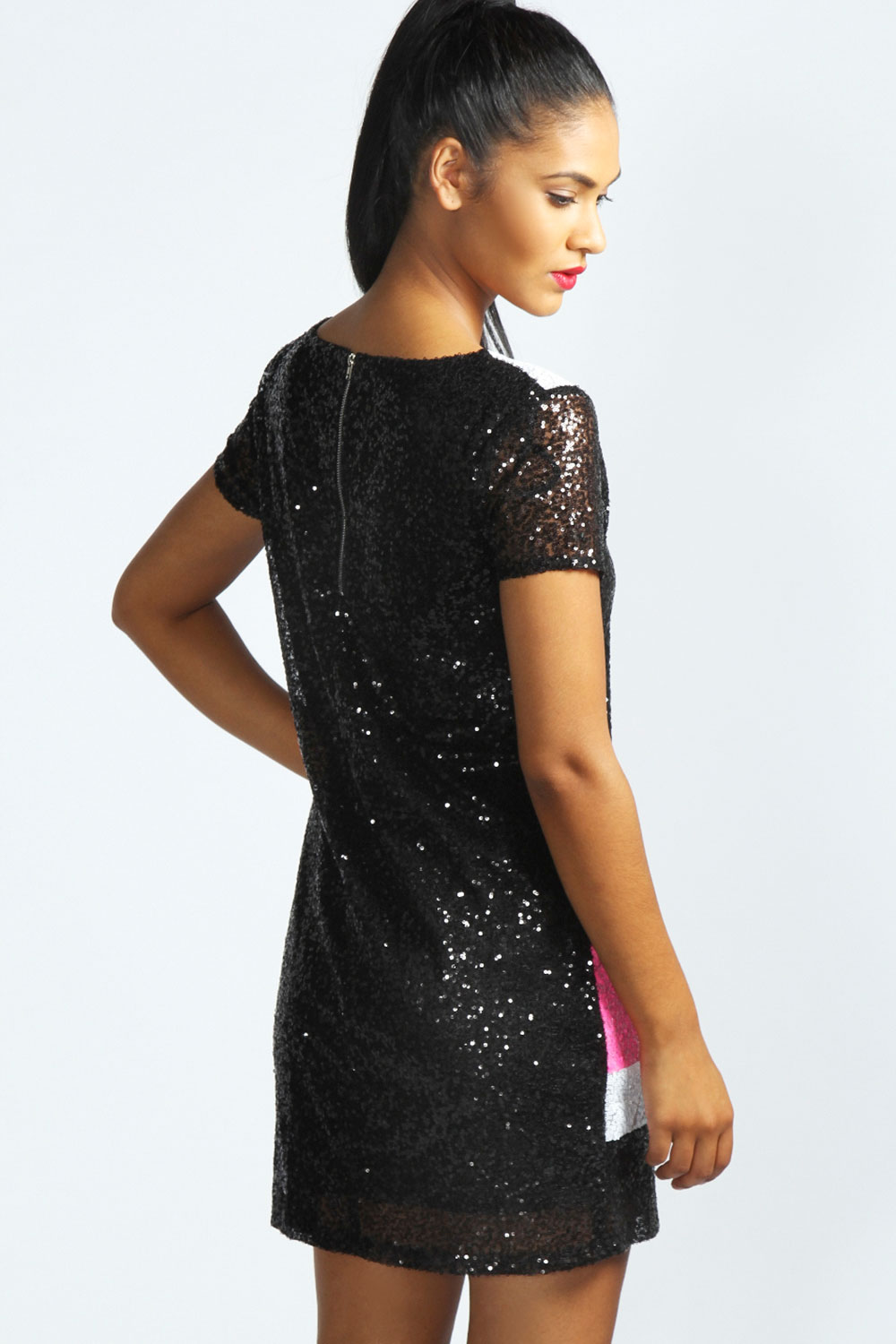 Zara Multi Contrast Panel Sequin Shift Dress