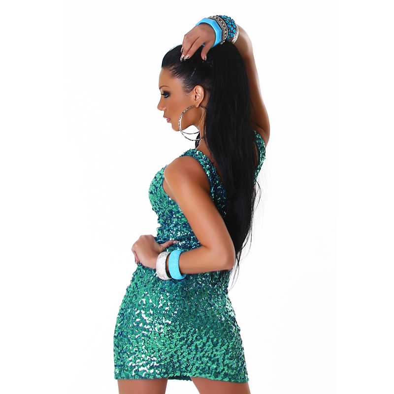 Green Sequined Sleeveless Club Dress