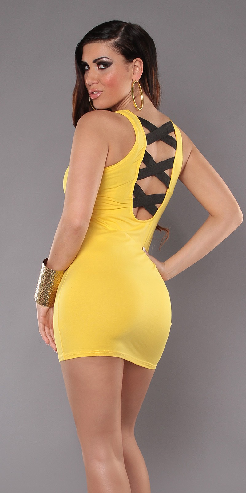 Yellow Sexy Criss Cross Straps Back Dress