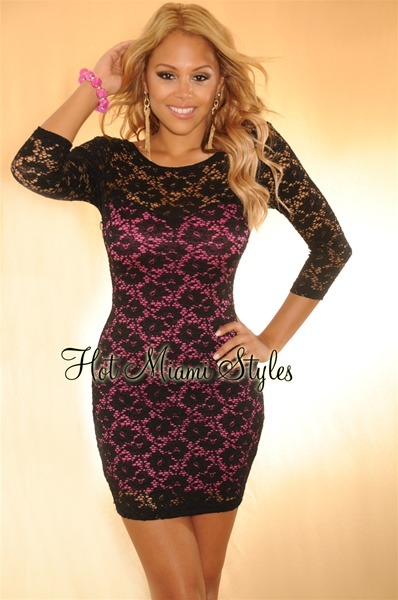 Magenta Black Lace 3/4 Sleeves Dress