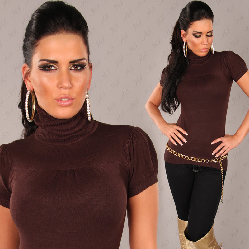 Brown Sexy Short Arm Knitted Turtle Neck Jumper