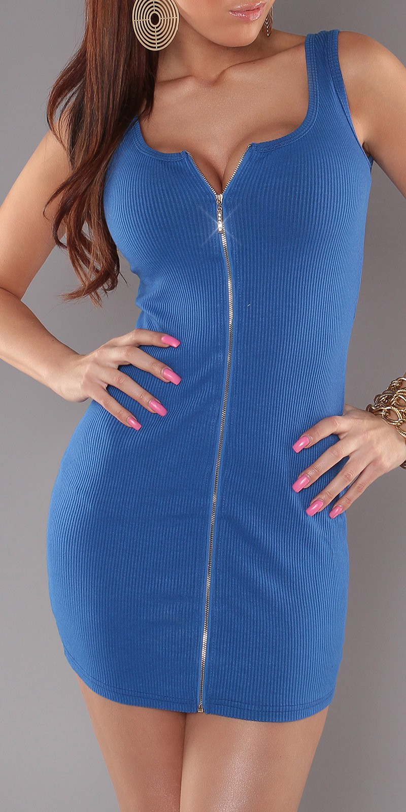 Blue Sexy Minidress With Zipper
