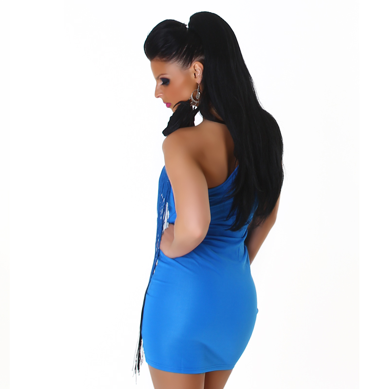 Blue Two-Color One-Shoulder Fringed Club Dress