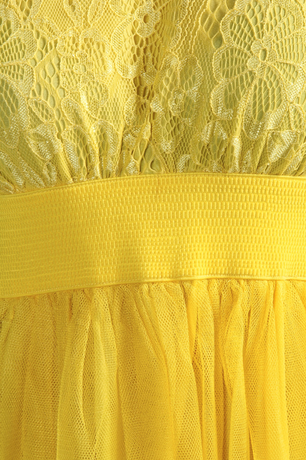 Yellow Billie Lace Top Zip Back Netted Prom Dress