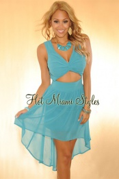 Teal Key-Hole Waist High Low Dress