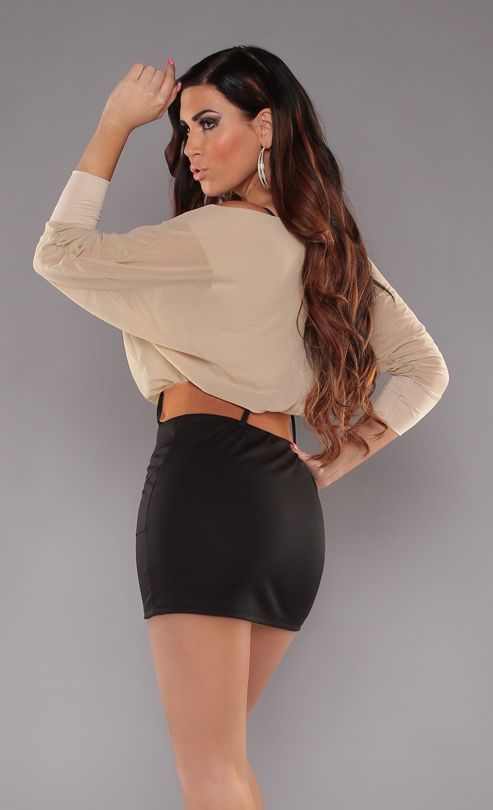 Beige Top Black Skirt Off-Shoulder Belted Dress