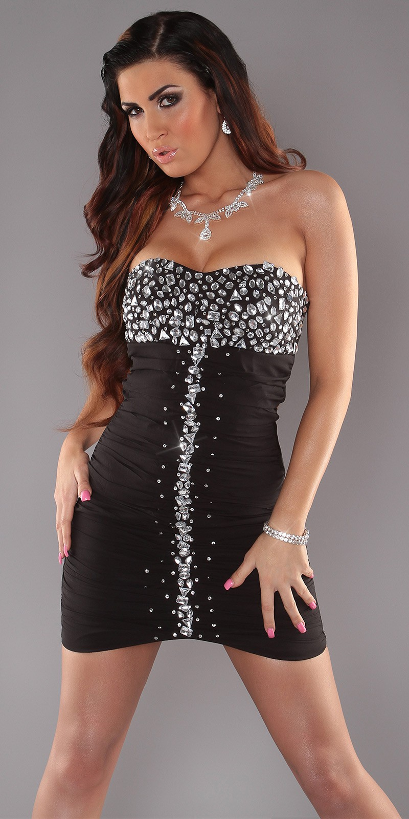 Black Slinky Strapless Evening Dress With Rhinestones