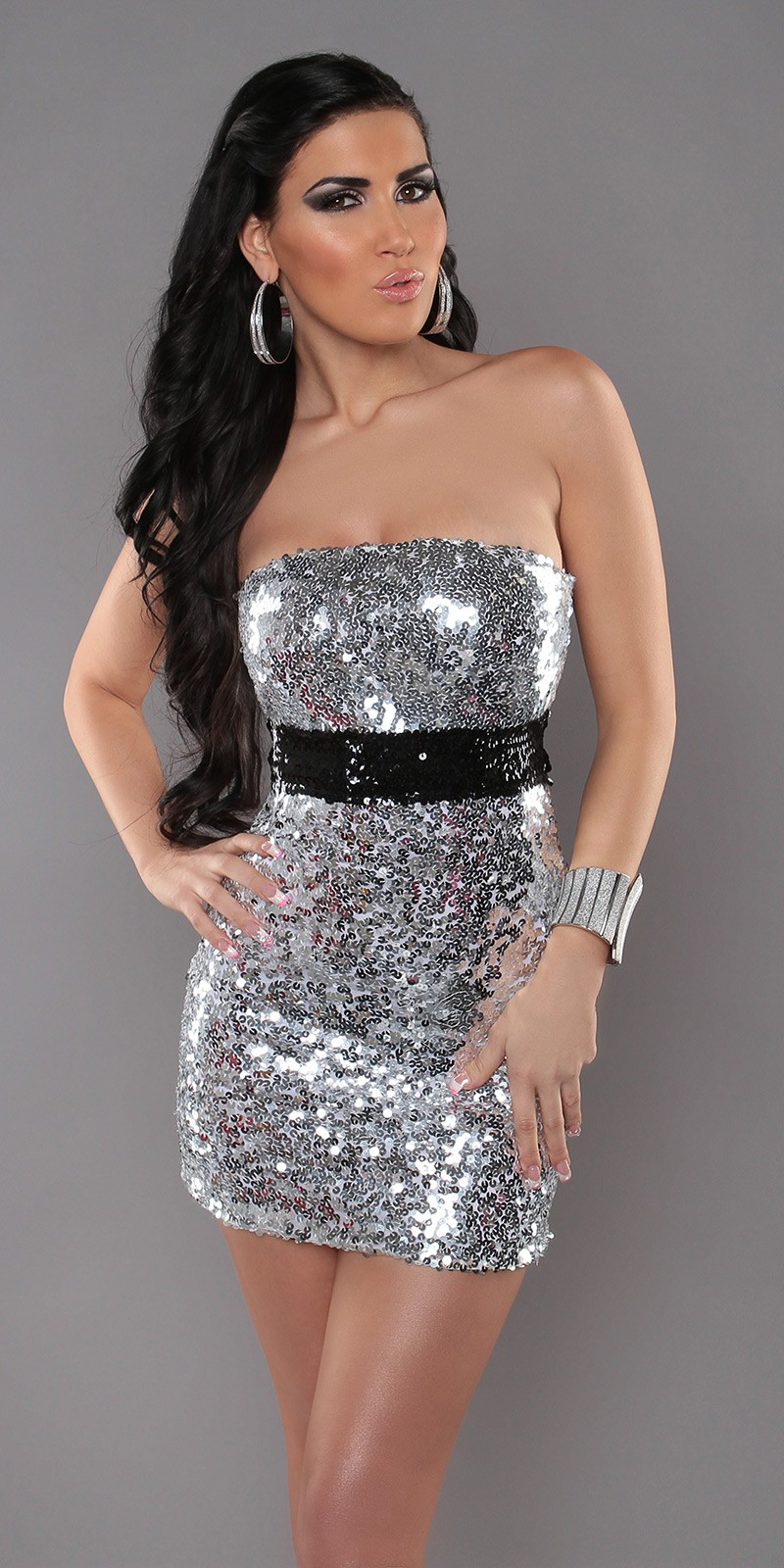 Silver Sexy Bandeau-Minidress With Sequins