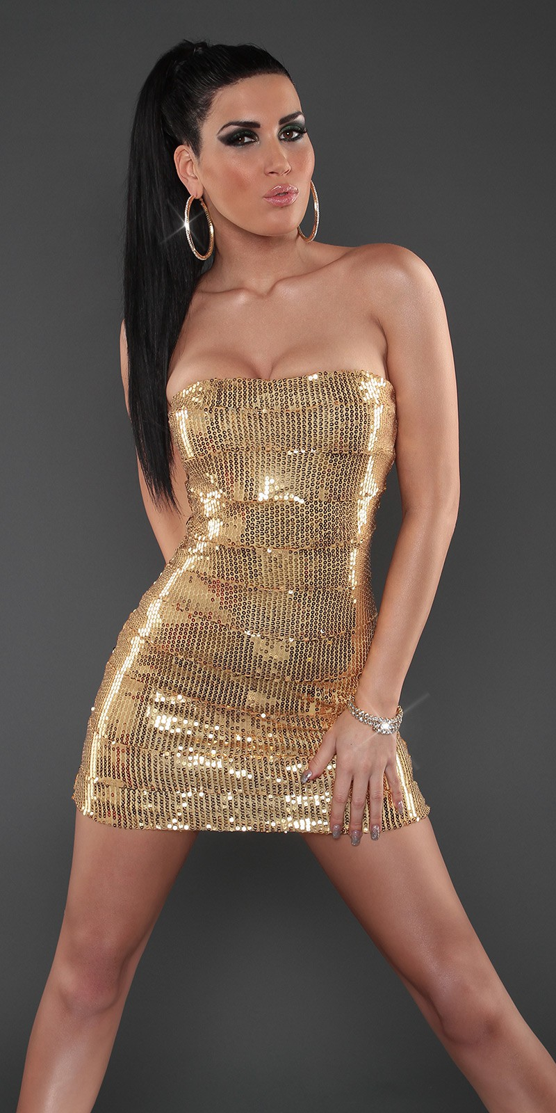 Gold Sequined Strapless Slinky Club Dress
