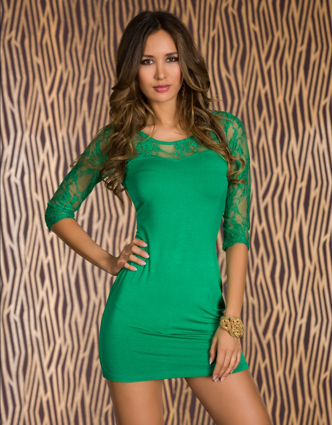 Green Lace 3/4 Sleeves Short Dress