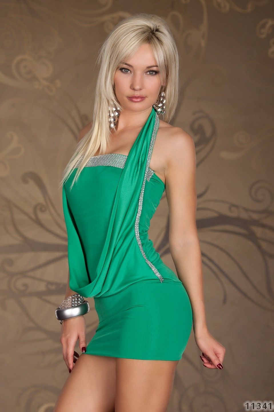 Green Draped Rhinestones Dress