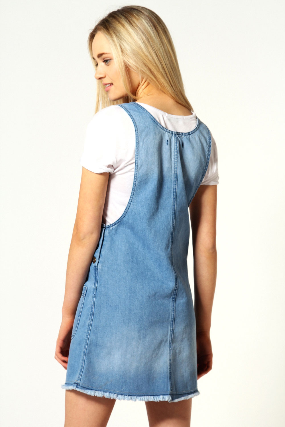 Kati Denim Button Pinafore Dress