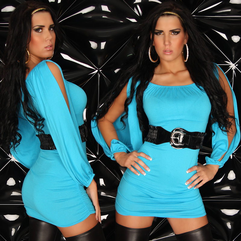 Turquoise Sexy Open Sleeve Longshirt-Minidress With Belt