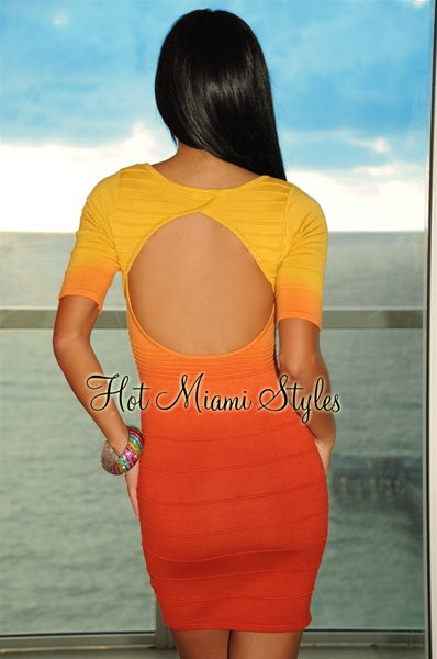 Orange Ombre Bandage Dress