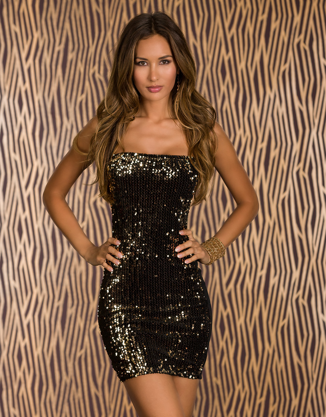 Black-Gold Strapless Club Dress With Sequined Front