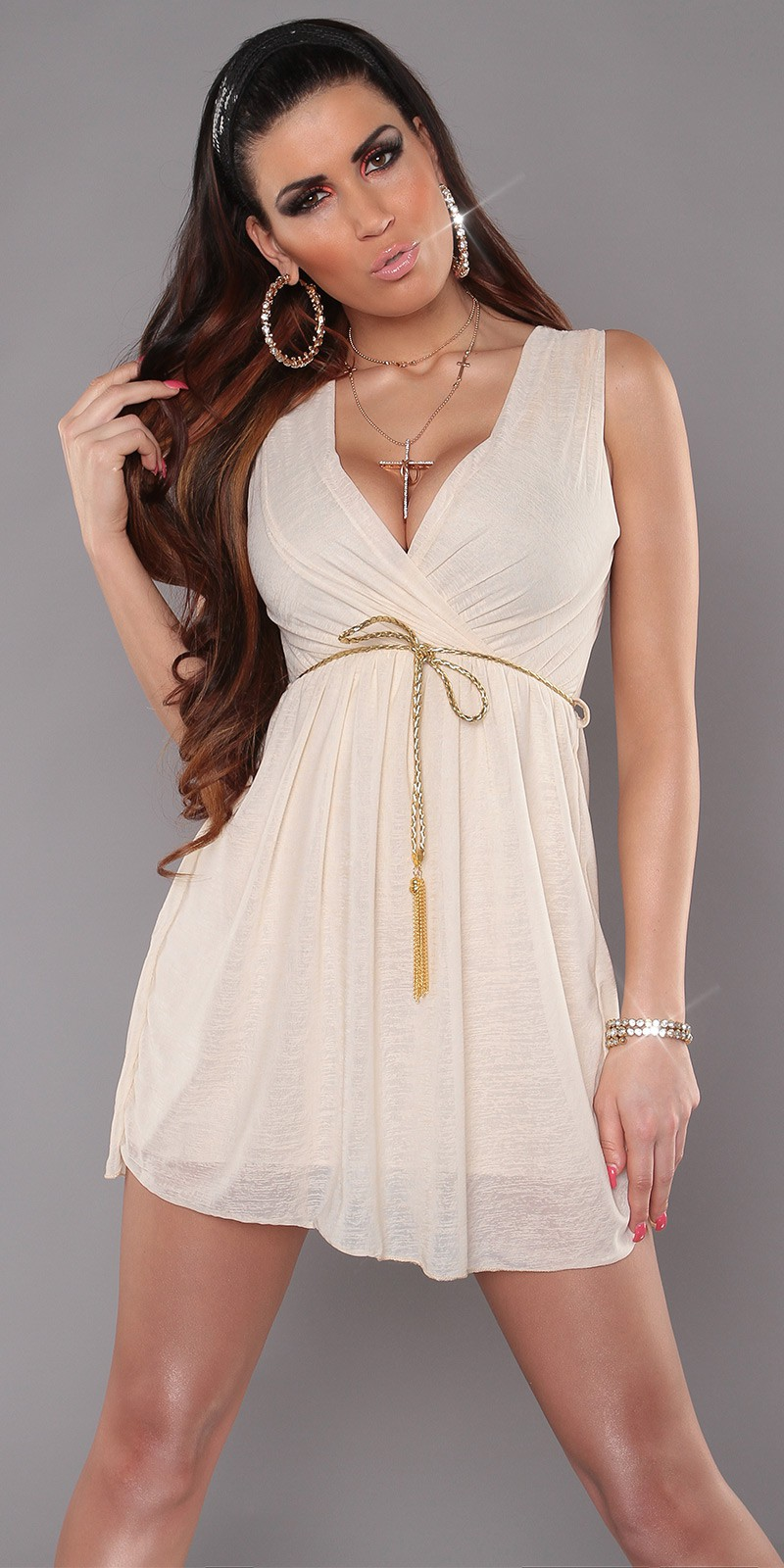 Beige Sexy KouCla Minidress With V-Neck Snd Belt