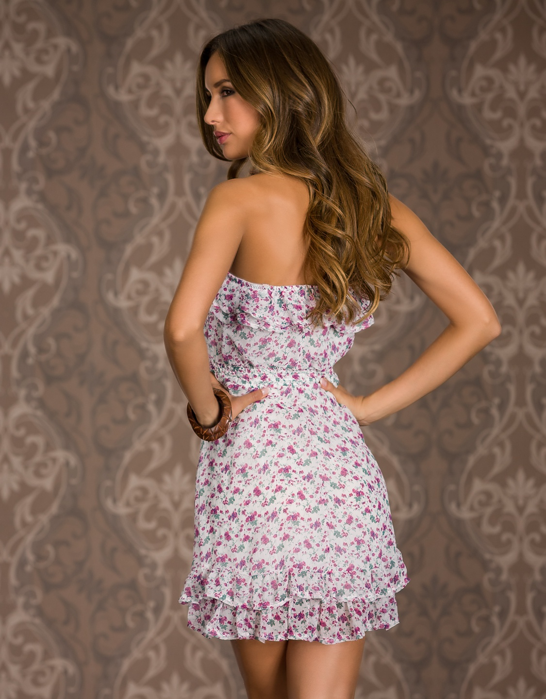 White Strapless Ruffled Summer Dress With Flower Print