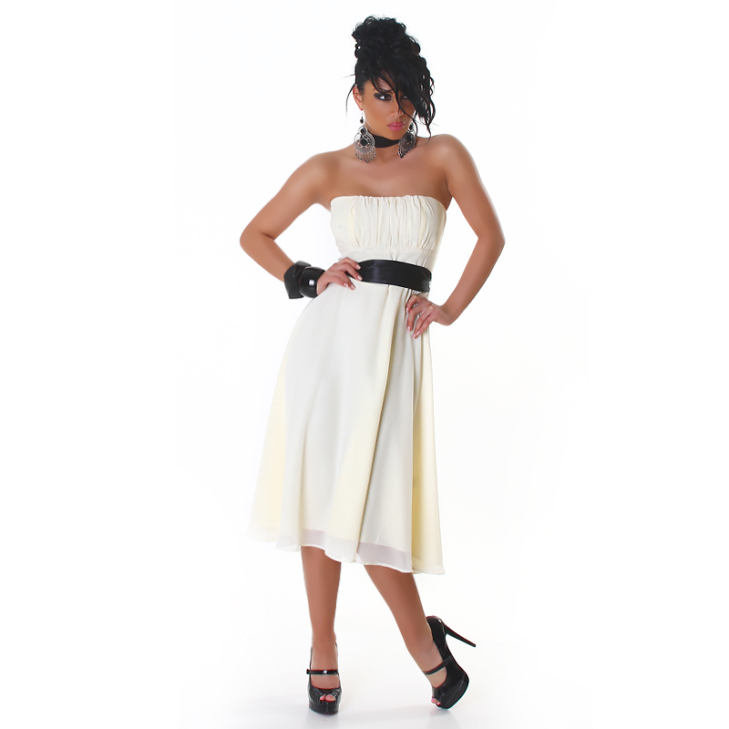 White Strapless Bell-Shaped Belted Midi Coctail Dress