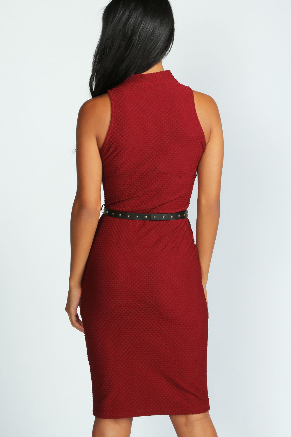 Berry Toni Textured Fabric Stud Belt Midi Dress