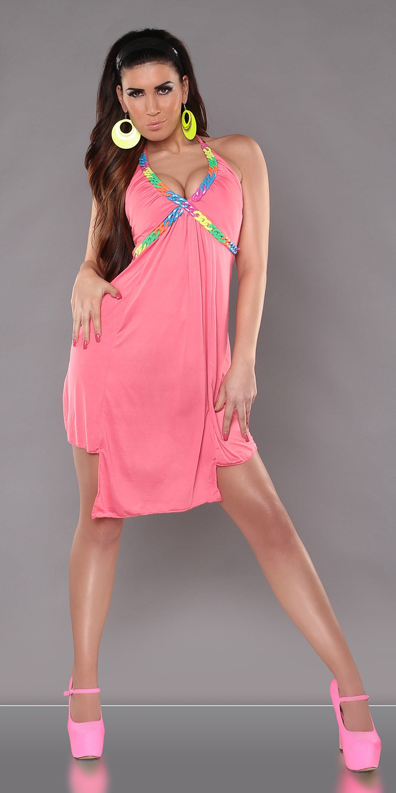 Coral Halter Color Chain Summer Dress