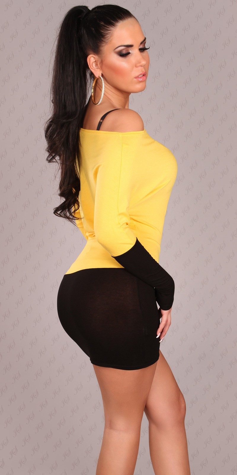 Black-Yellow Two-Color Off-Shoulder Dress