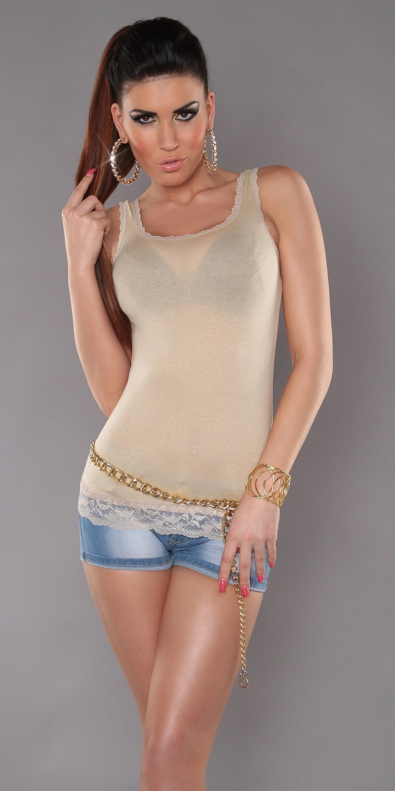 Beige Tank Top With Lace