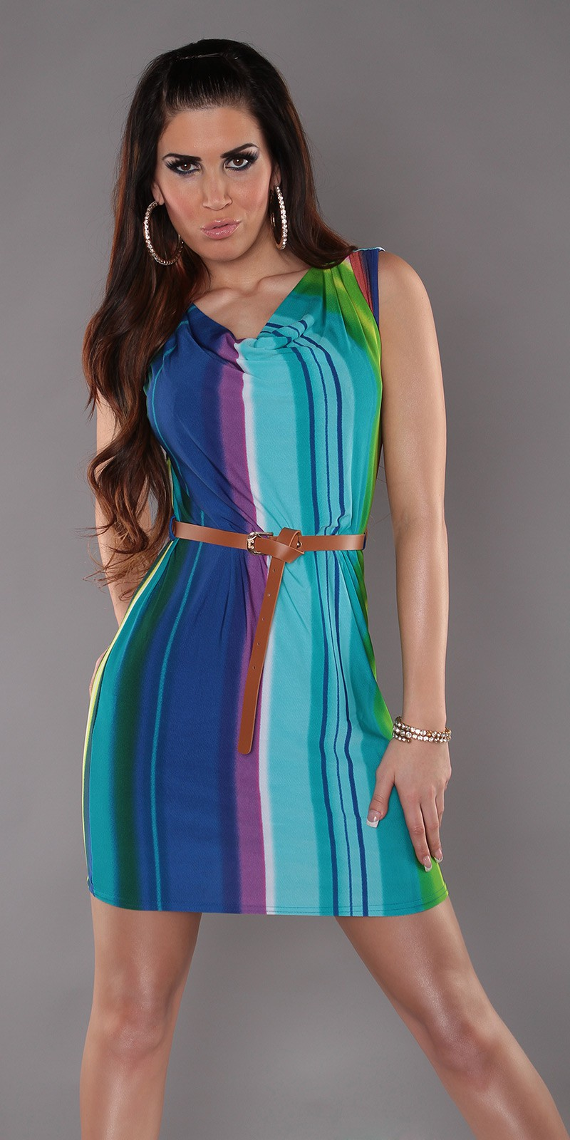 Blue Striped Sleeveless Dress With Belt