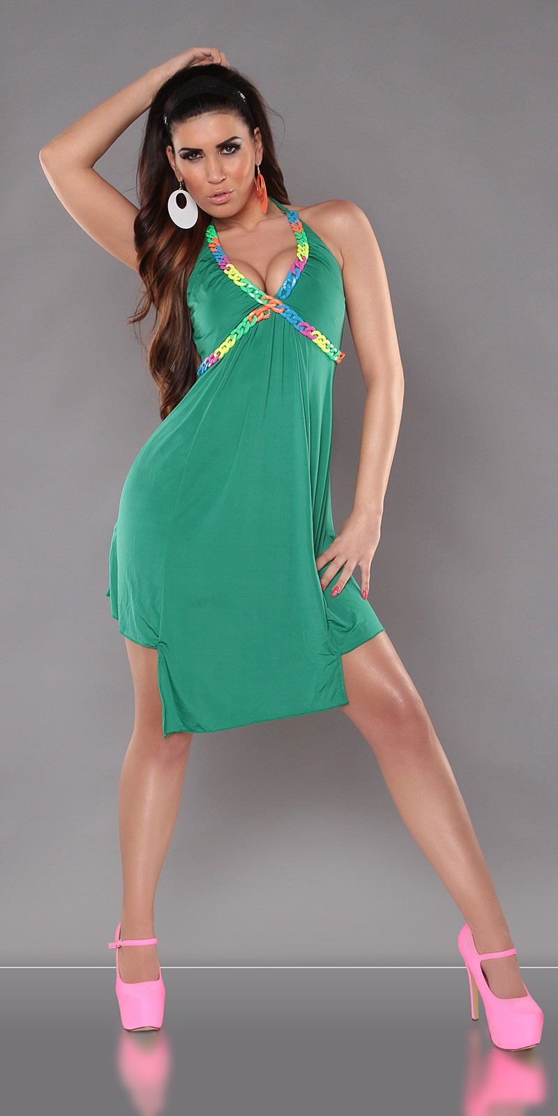 Green Halter Color Chain Summer Dress