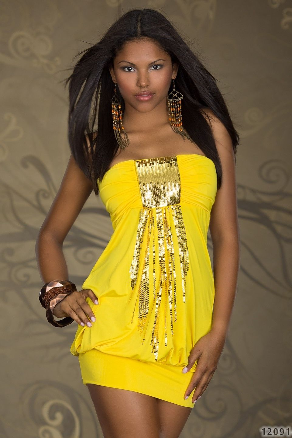 Yellow Sequined Strapless Club Dress