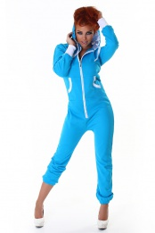 Turquoise Long Sleeves Jumpsuit With White Details