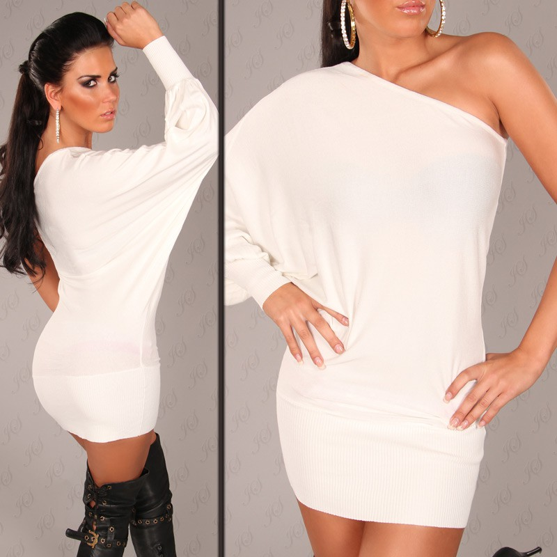 White Sexy Onesleeve Batlook Longsweater-Minidress