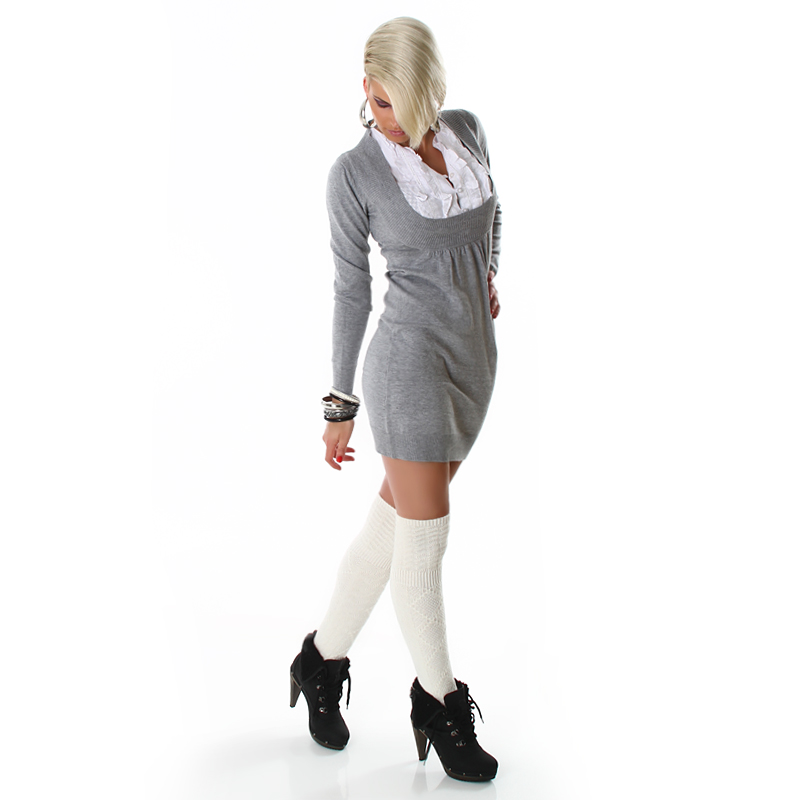Grey Long Sleeve Office Sweater Dress