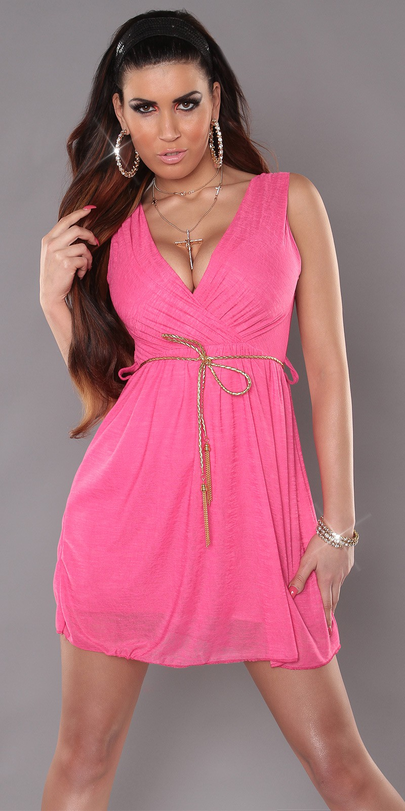 Fuchsia Sexy KouCla Minidress With V-Neck Snd Belt