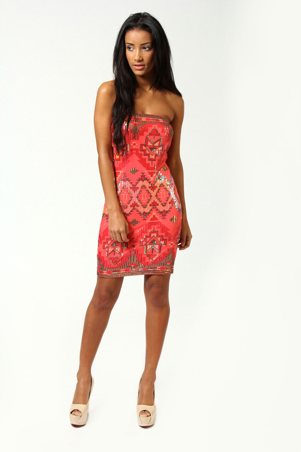 Coral Millie Sequin Aztec Boobtube Dress